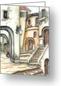 Franz Greeting Cards - Matera Greeting Card by Pamela Allegretto