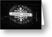 Mathew Greeting Cards - Mathew Street Sign In The Cavern Quarter In Liverpool City Centre Birthplace Of The Beatles Greeting Card by Joe Fox