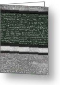 Lesson Greeting Cards - Maths Formula On Chalkboard Greeting Card by Setsiri Silapasuwanchai