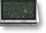College Greeting Cards - Maths Formula On Chalkboard Greeting Card by Setsiri Silapasuwanchai