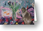 Flower Still Life Prints Painting Greeting Cards - Matisse Cat Greeting Card by Eve Riser Roberts