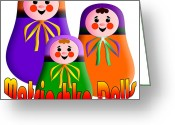 Ethnic Digital Art Greeting Cards - Matrioshka Dolls Greeting Card by Zaira Dzhaubaeva