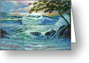 Featured Artist Painting Greeting Cards - Matsushima Coast Greeting Card by David Lloyd Glover