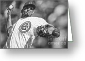 Wrigley Field Greeting Cards - Matt Garza Greeting Card by David Bearden