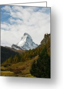 Glacier Greeting Cards - Matterhorn in the Fall Greeting Card by Stan and Anne Foster
