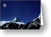 Snowcapped Greeting Cards - Matterhorn Switzerland Blue Hour Greeting Card by Maria Swärd