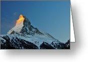 Snowcapped Greeting Cards - Matterhorn Switzerland Sunrise Greeting Card by Maria Swärd