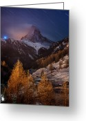 Snowcapped Greeting Cards - Matterhorn With Star Trail Greeting Card by Coolbiere Photograph
