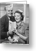 Mature Adult Greeting Cards - Mature Couple Looking At Brochure, (b&w) Greeting Card by George Marks