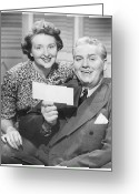 Mature Adult Greeting Cards - Mature Couple Posing, Man Holding Check, (b&w), Portrait Greeting Card by George Marks
