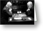 Chin On Hand Greeting Cards - Mature Men Playing Chess, Profile (b&w) Greeting Card by Hulton Archive