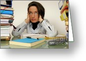 Straight Hair Greeting Cards - Mature office worker sitting at desk with piles of folders Greeting Card by Sami Sarkis