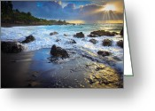 Pebbles Greeting Cards - Maui Dawn Greeting Card by Inge Johnsson
