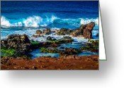 Hawaiian Greeting Cards - Maui Hawaii Breaking Surf  Greeting Card by Scott McGuire