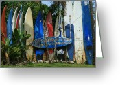; Maui Greeting Cards - Maui Surfboard Fence - Peahi Greeting Card by Sharon Mau