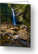 Waterfalls Greeting Cards - Maui Waterfall Greeting Card by Adam Romanowicz