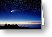 Hale-bopp Greeting Cards - Mauna Kea Observatory & Comet Hale-bopp Greeting Card by David Nunuk