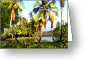 Islands Digital Art Greeting Cards - Mauna Lani Fish Ponds Greeting Card by Kurt Van Wagner