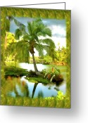 Hawaiian Pond Greeting Cards - Mauna Lani Palm I Greeting Card by Kurt Van Wagner