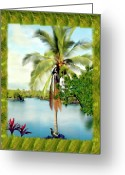 Hawaiian Pond Greeting Cards - Mauna Lani Palm II Greeting Card by Kurt Van Wagner