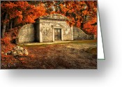 New England Autumn Greeting Cards - Mausoleum Greeting Card by Bob Orsillo