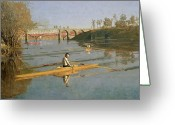 Posters And Greeting Cards - Max Schmitt in a Single Scull Greeting Card by Thomas Cowperthwait Eakins