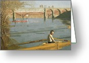 1871 Greeting Cards - Max Schmitt in a Single Scull Greeting Card by Thomas Eakins