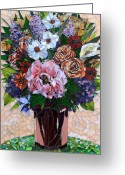 Flowers Glass Art Greeting Cards - May Flowers Greeting Card by Sandra Bryant