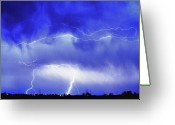Lightning Bolt Pictures Greeting Cards - May Showers - Lightning Thunderstorm 5-10-2011 HDR Greeting Card by James Bo Insogna