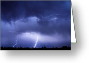 Lightning Weather Stock Images Greeting Cards - May Showers - Lightning Thunderstorm 5-10-2011 Greeting Card by James Bo Insogna