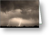 Lightning Bolt Pictures Greeting Cards - May Showers - Lightning Thunderstorm Sepia 5-10-2011 Greeting Card by James Bo Insogna