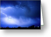Lightning Bolt Pictures Greeting Cards - May Showers Two in Color - Lightning Thunderstorm 5-10-2011 Greeting Card by James Bo Insogna