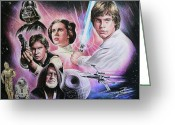 Science Fiction Drawings Greeting Cards - May The Force Be With You Greeting Card by Andrew Read