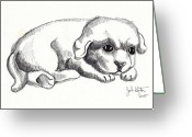 Puppies Greeting Cards - Maya 1 Greeting Card by John Keaton