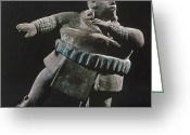 Ceramic Sculpture Greeting Cards - Mayan Athlete, 700-900 A.d Greeting Card by Granger