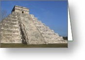Mayan Art Greeting Cards - Mayan Ruins At Chichen Itza, Kukulcans Pyramid, Yucatan, Mexico Greeting Card by Tom Brakefield