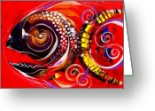 Philosophy Greeting Cards - Mayan Turtle Fish Greeting Card by J Vincent Scarpace