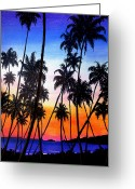 Giclee Pastels Greeting Cards - Mayaro Red Dawn Greeting Card by Karin Best