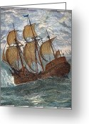 Mayflower Greeting Cards - Mayflower At Sea, 1620 Greeting Card by Granger
