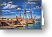 Mayflower Greeting Cards - Mayflower Ship Greeting Card by Gina Cormier