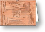 West Indian Mixed Media Greeting Cards - Maze Greeting Card by Biff Yeager