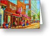 Montreal Summer Scenes Greeting Cards - Mazurka Cafe Greeting Card by Carole Spandau
