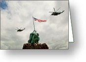 Usmc Base Greeting Cards - MCBH Remembers Iwo Jima Greeting Card by Dan McManus