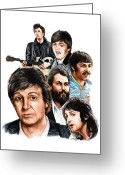 Paul Mccartney Drawings Greeting Cards - McCartney - Heart of the Band  Greeting Card by Jonathan Brown