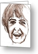 Paul Mccartney Drawings Greeting Cards - McCartney Greeting Card by David Ritsema