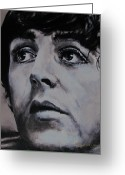 Paul Mccartney Drawings Greeting Cards - McCartneys Eyes Greeting Card by Eric Dee
