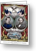 Elections Greeting Cards - McClellan and Pendleton Campaign Poster Greeting Card by War Is Hell Store