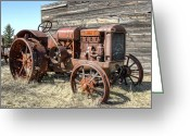 Farm Machine Greeting Cards - McCormick-Deering Hand-Crank Start Tractor Greeting Card by Daniel Hagerman