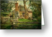 Log Cabin Photographs Photo Greeting Cards - McCormick Grist Mill Greeting Card by Kathy Jennings