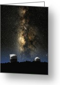 Telescope Domes Greeting Cards - McDonald Observatory and Milky Way Greeting Card by Larry Landolfi